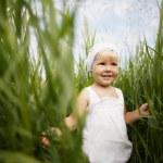 Cute little girl in high grass — Stock Photo
