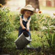 Little boy watering flowers — Stock Photo