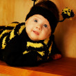 Stock Photo: Little funny baby with bee costume