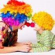 Big and little funny clowns — Stock Photo #32529705