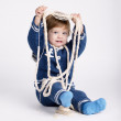 Cute little sailor baby on white — Stock Photo