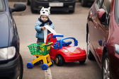 Little boy on parking — Stock Photo
