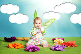 Little baby with butterfly costume — Stock Photo
