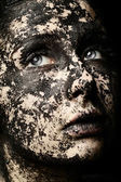 портрет красивой женщины - концепция сухой кожи — Стоковое фото