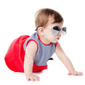 Baby with sunglasses isolated on white background — Stock Photo