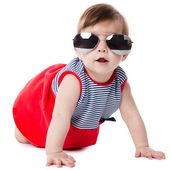 Baby with sunglasses isolated on white background — Photo