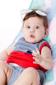 Expressive adorable happy baby  — Stock Photo