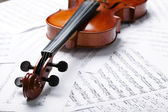 Violin on an notes background — Stock Photo