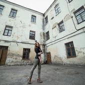 Young beautiful blond girl street portrait — Stock Photo
