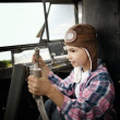 Little boy dreaming of being pilot — Stock Photo