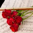 Violin sheet music and rose - Stockfoto
