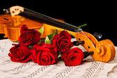 Partituras de violín y rosa — Foto de Stock
