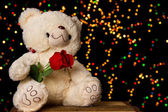 Teddie bear with white with red rose sitting — Stock Photo