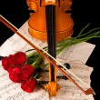 Violin sheet music and rose black composition — Stock Photo