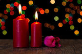 Candle light closeup with bokeh and flower — Stock fotografie