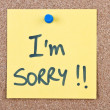 Post it note with i'm sorry — Stock Photo