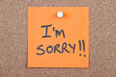 Post it note with i'm sorry — Foto Stock