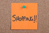 Post-it note oranje met winkelen — Stockfoto