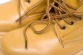Laces on the brown boots — Stock Photo