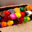 Crayons in a pack, the focus in the middle — Foto de Stock