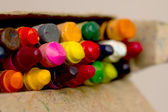 Crayons in a pack, the focus in the middle — Fotografia Stock