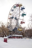 Ferris wheel in winter park — Stock Photo