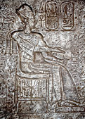 Frescos and hieroglyphs on a wall of the Egyptian temple — Stockfoto