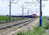 Railway with freight train — Stock Photo