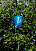 Blue balloon with number — Stock Photo