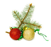 Christmas balls with pine branch — Stock Photo