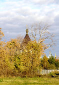 Autumn cityscape with church — Stock Photo
