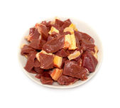 Small pieces of meat on a plate — Stock Photo