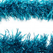 Christmas blue tinsel streamers — Foto Stock #37595855