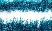 Vánoční modré pozlátko stuhami — Stock fotografie