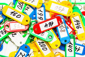 Some color keychains and digits — Stock Photo