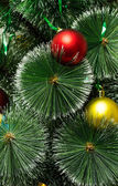 Christmas tree with golden and red balls — Stock Photo