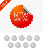 Sale stickers: New arrival — Stock Vector