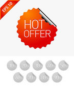 Sale stickers: Hot offer — Stock Vector