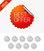 Sale stickers: Best offer — Stock Vector