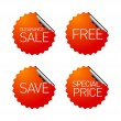 Stock Vector: Set of sale stickers