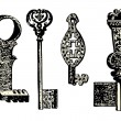Old key collection — Stock Vector