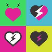 Hearts with lightning — Stock Vector