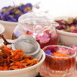 Herbal natural floral tea infusion with dry flowers — Stock Photo #16258909