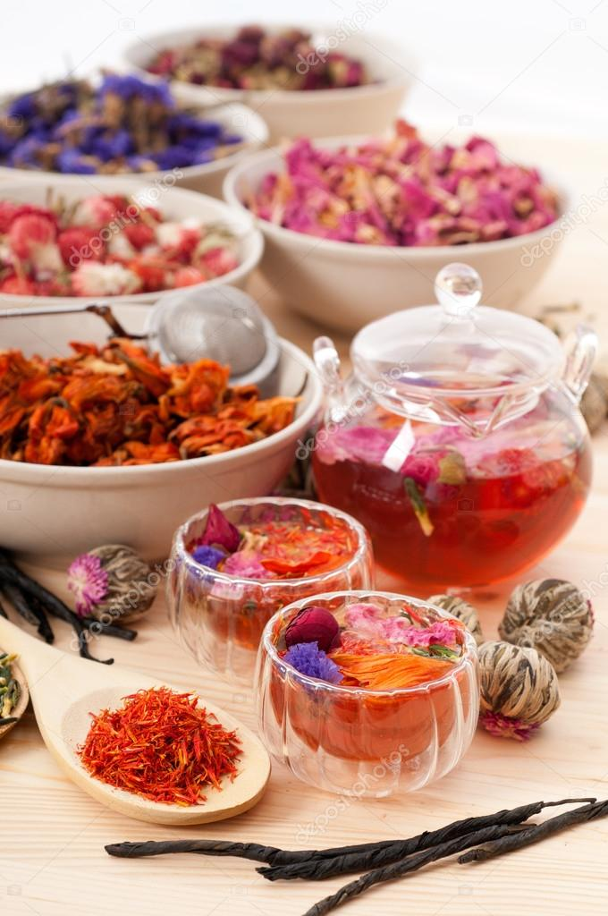 Herbal natural floral tea infusion with dry flowers ingredients  Stock Photo #16259093