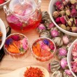 Herbal natural floral tea infusion with dry flowers — Stock Photo #17397453