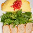Cheese ometette with tomato and salad — Stockfoto