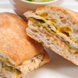 Italian ciabatta panini sandwich chicken - Stock Photo