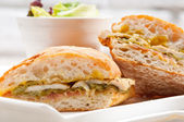 Italian ciabatta panini sandwich chicken — Stock Photo