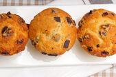 Fresh chocolate and raisins muffins — Stock Photo