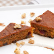 Stock Photo: Fresh healthy carrots and walnuts cake dessert